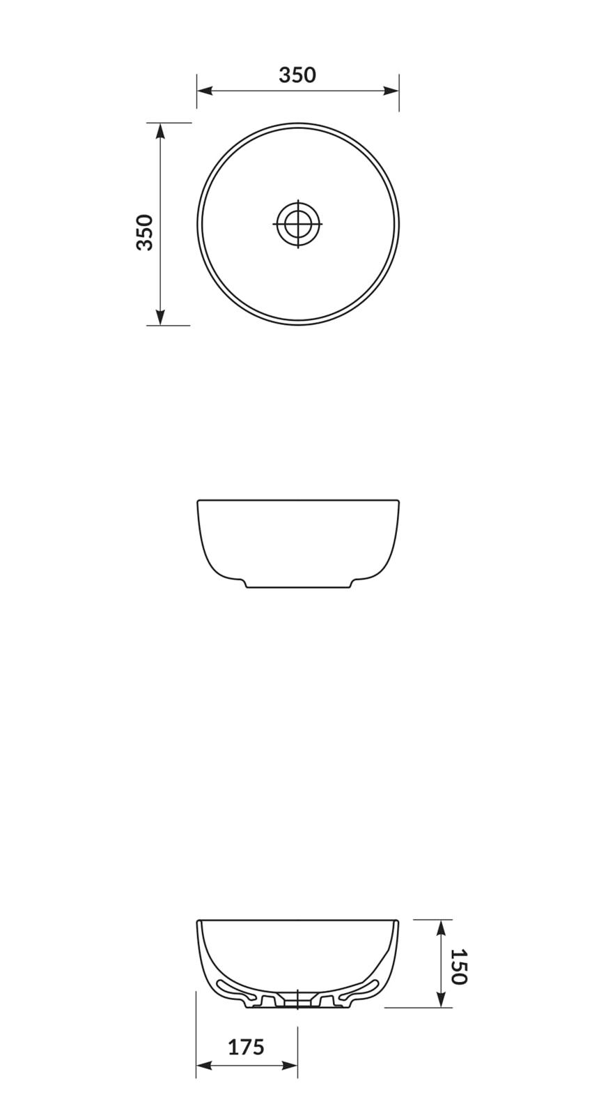 Umywalka nablatowa 35 cm Cersanit Moduo rysunek