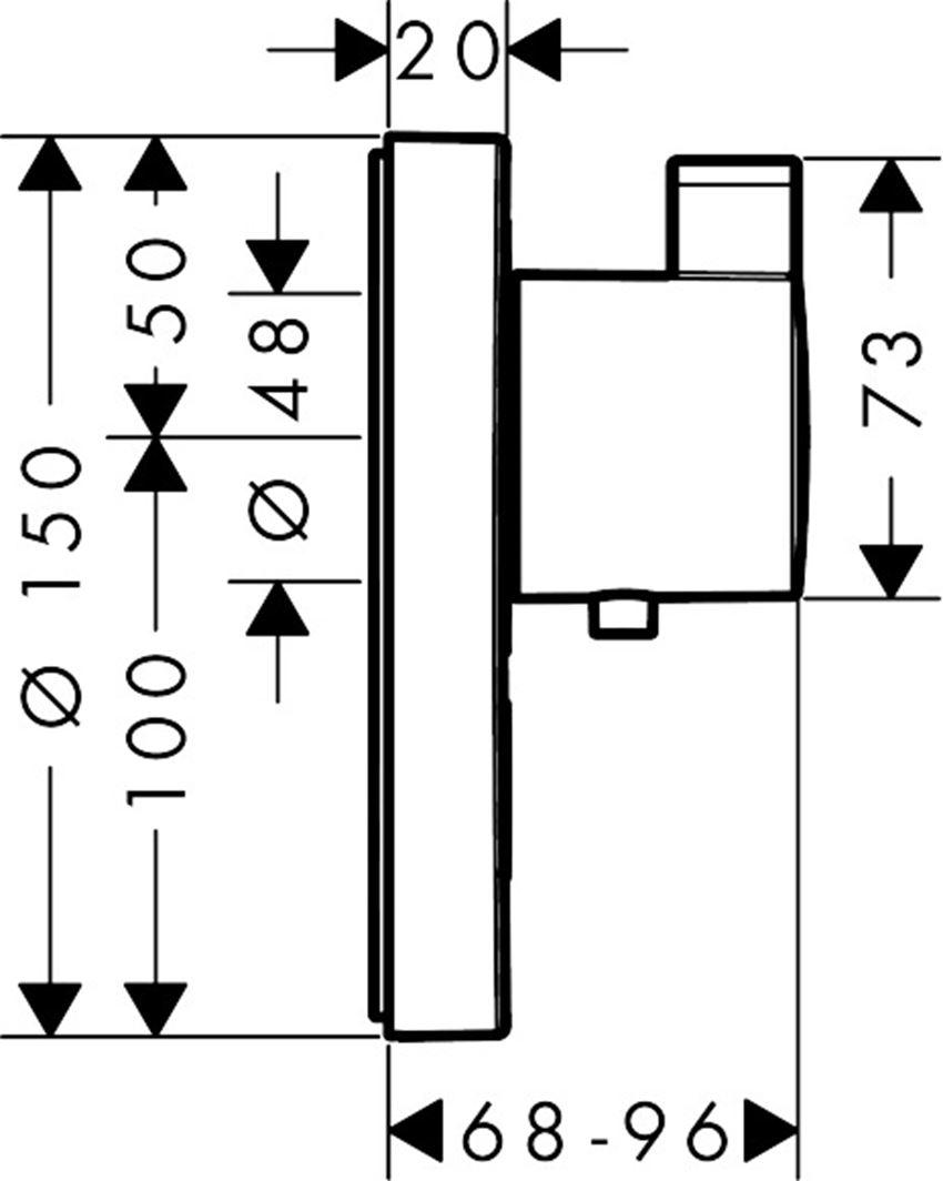 Bateria termostatyczna do 1 odbiornika z 1 dodatkowym wyjściem element zewnętrzny Hansgrohe ShowerSelect rysunek techniczny