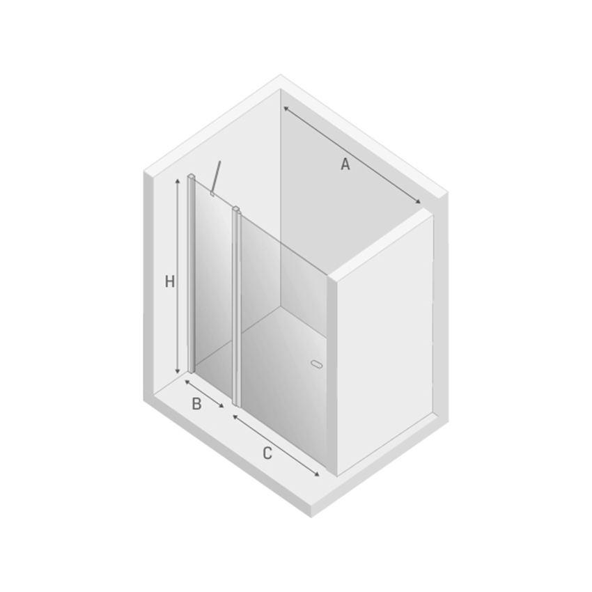 Drzwi prysznicowe wspornik skośny New Trendy New Soleo Black rysunek techniczny