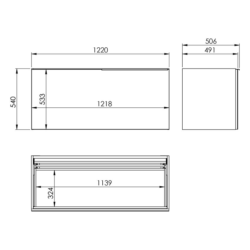 Szafka podumywalkowa 120 cm Elita Glam rysunek
