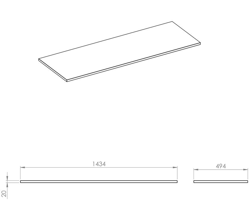 Blat naszafkowy pełny 140(70+70) cm Elita ElitStone rysunek