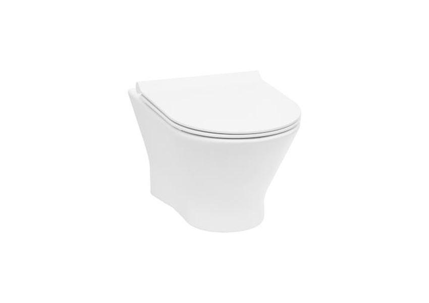 Miska WC podwieszana Rimless z deską wolnoopadającą SLIM 36x53,5 cm Roca Nexo