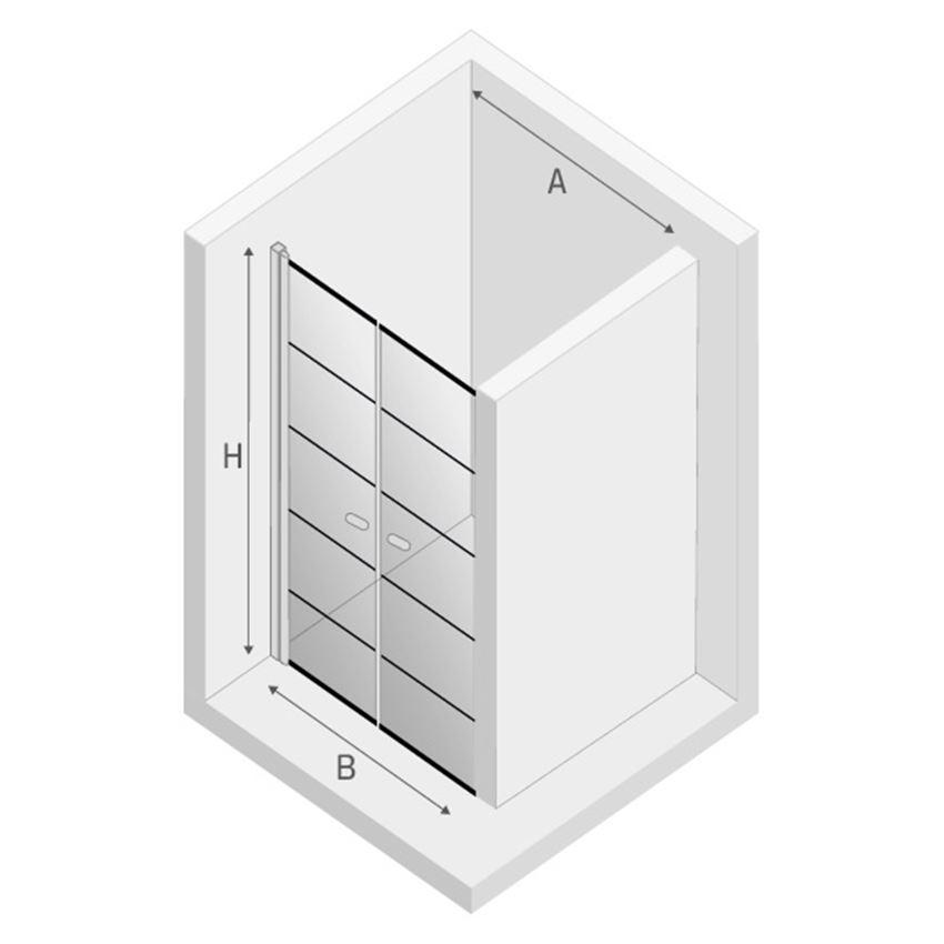 Drzwi prysznicowe New Trendy New Soleo Black rysunek techniczny