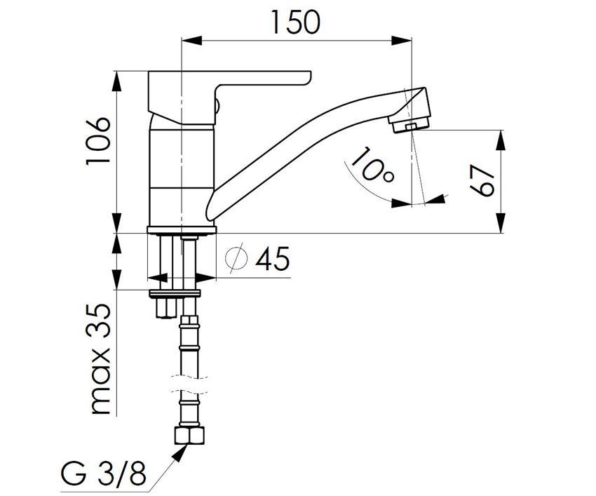 Bateria umywalkowa KFA Sodalit rysunek techniczny