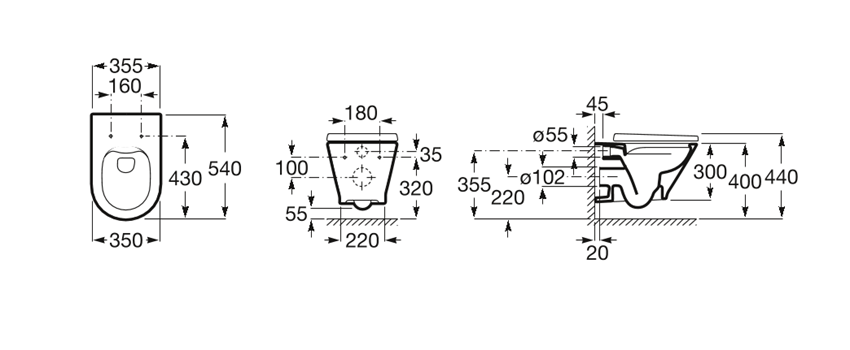 Miska podwieszana WC Rimless Round z deską wolnoopadającą SLIM 35,5x54x44 cm Roca Gap rysunek