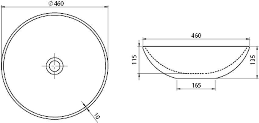 Umywalka CeraStyle Zero 071600 rysunek techniczny