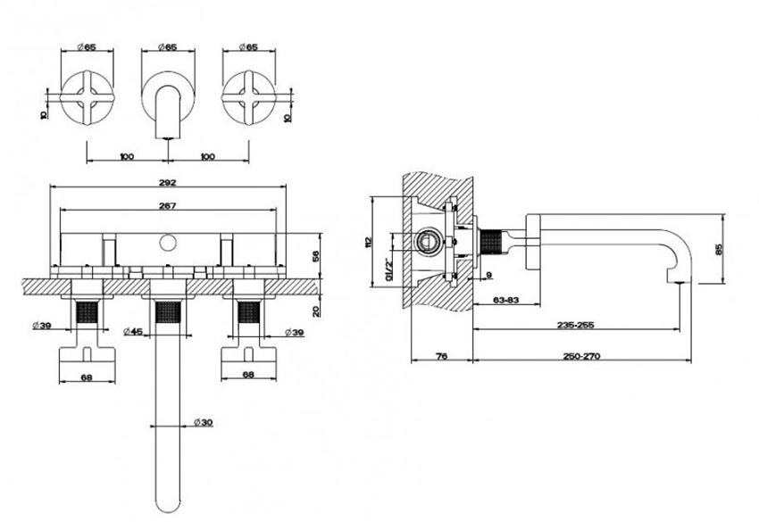 Bateria wannowa Omnires Parma rys.techniczny