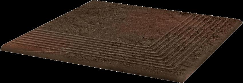Płytka stopnicowa 30x30 cm Paradyż Semir Brown Stopnica Narożna
