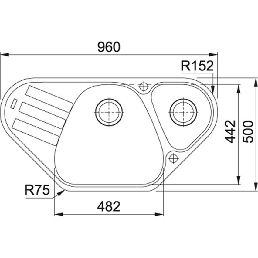 Zlewozmywak 1,5-komorowy z ociekaczem Franke Antea AZG 661-E rysunek techniczny