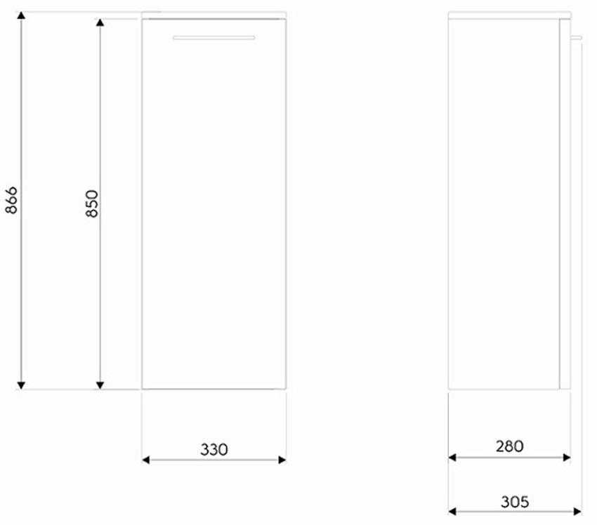 Szafka wisząca 33,2x86,6x28 cm Koło Nova Pro rysunek techniczny