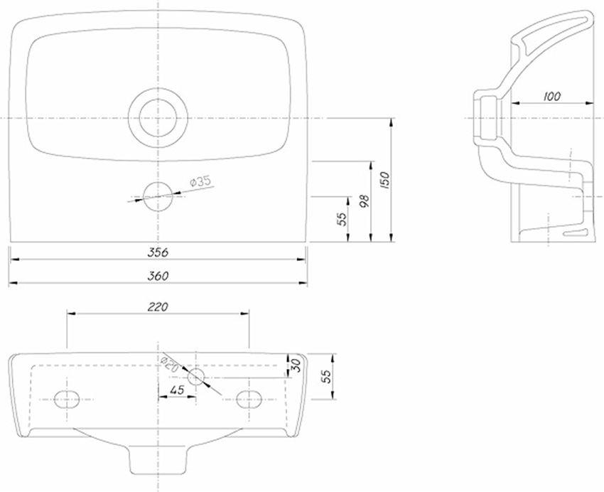 Umywalka prostokątną 36 cm Koło Nova Pro rysunek techniczny