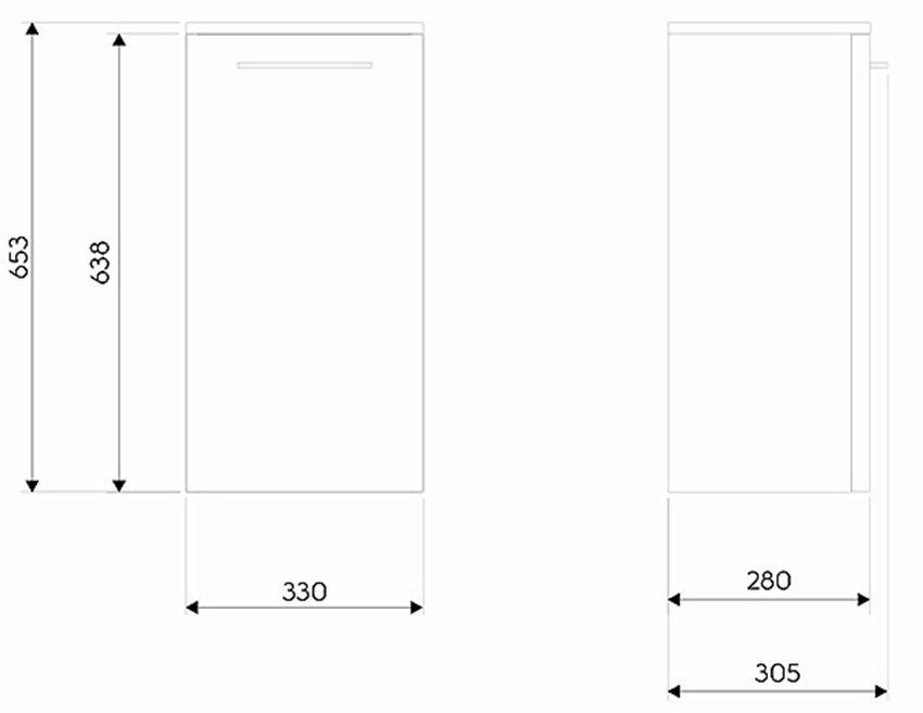 Szafka wisząca 33x65,3x28 cm Koło Nova Pro rysunek techniczny
