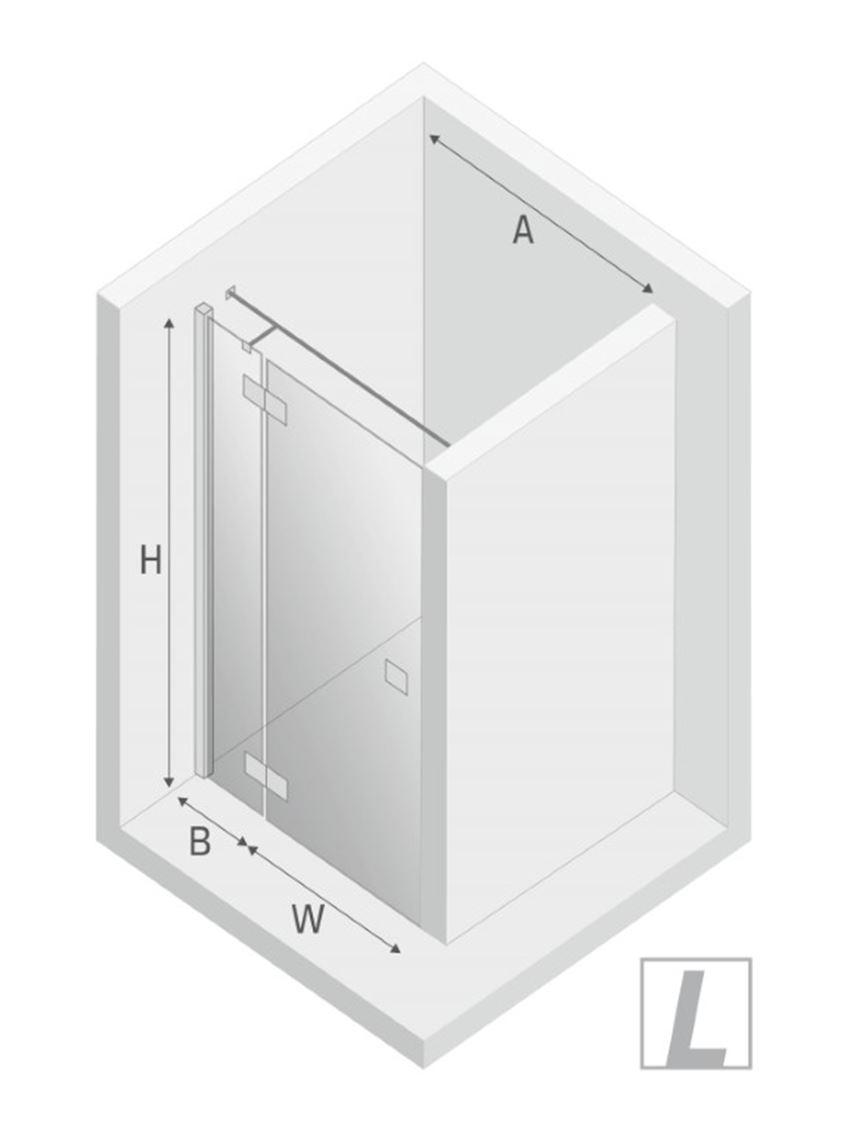 Drzwi prysznicowe lewe uchylne New Trendy Reflexa Black rysunek
