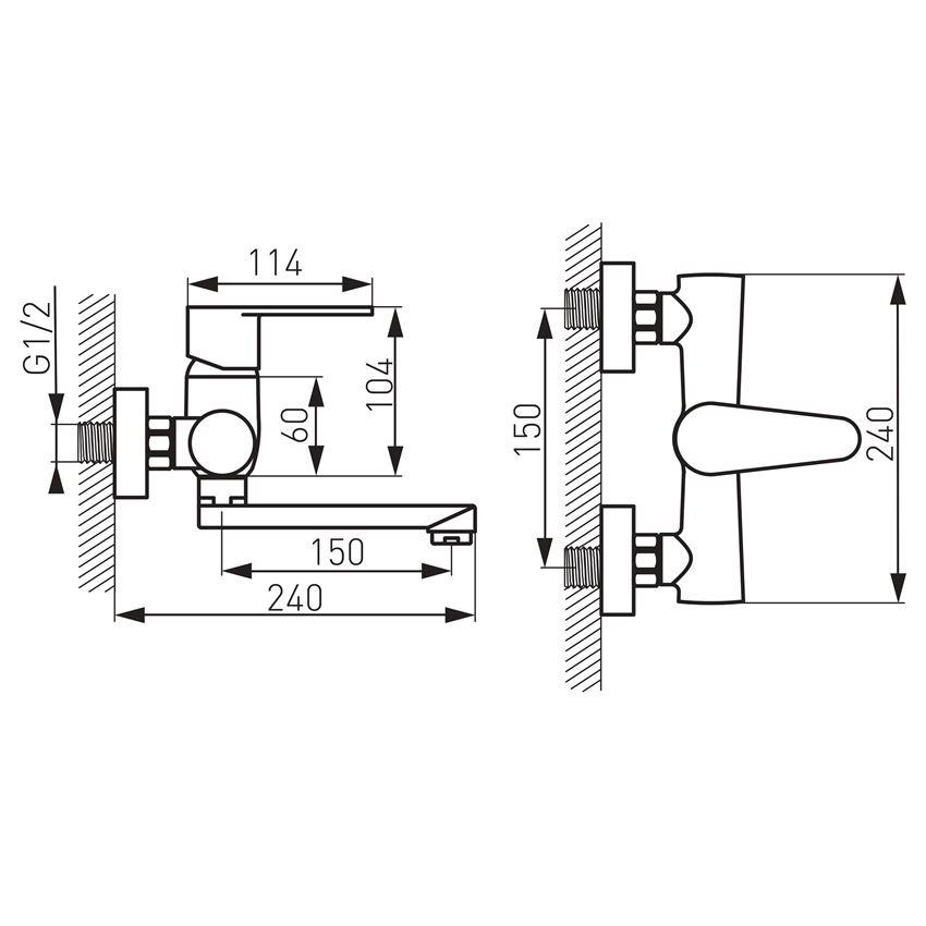 Bateria umywalkowa ścienna Ferro Algeo rysunek techniczny