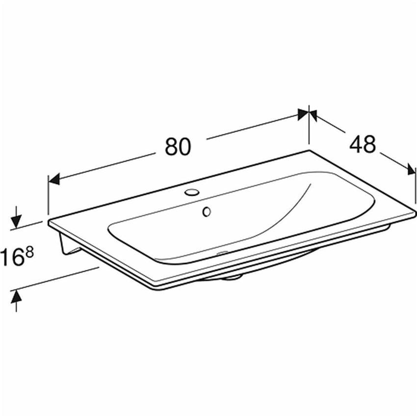 Umywalka meblowa 80 cm z niskim rantem z otworem i przelewem Koło Nova Pro Premium rysunek