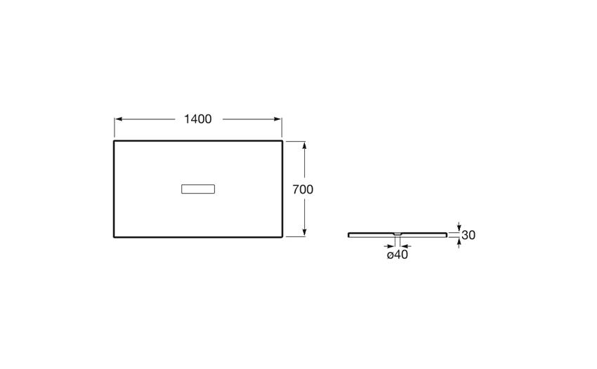 Rysunek techniczny brodzika prostokątnego 140x70x3 cm Roca Helios