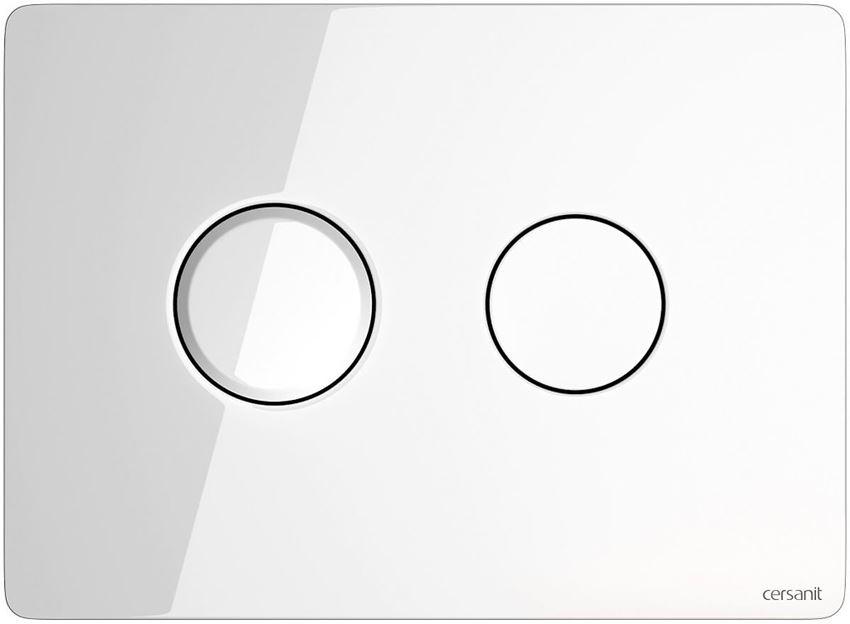 Przycisk spłukujący Circle szkło białe Cersanit Accento