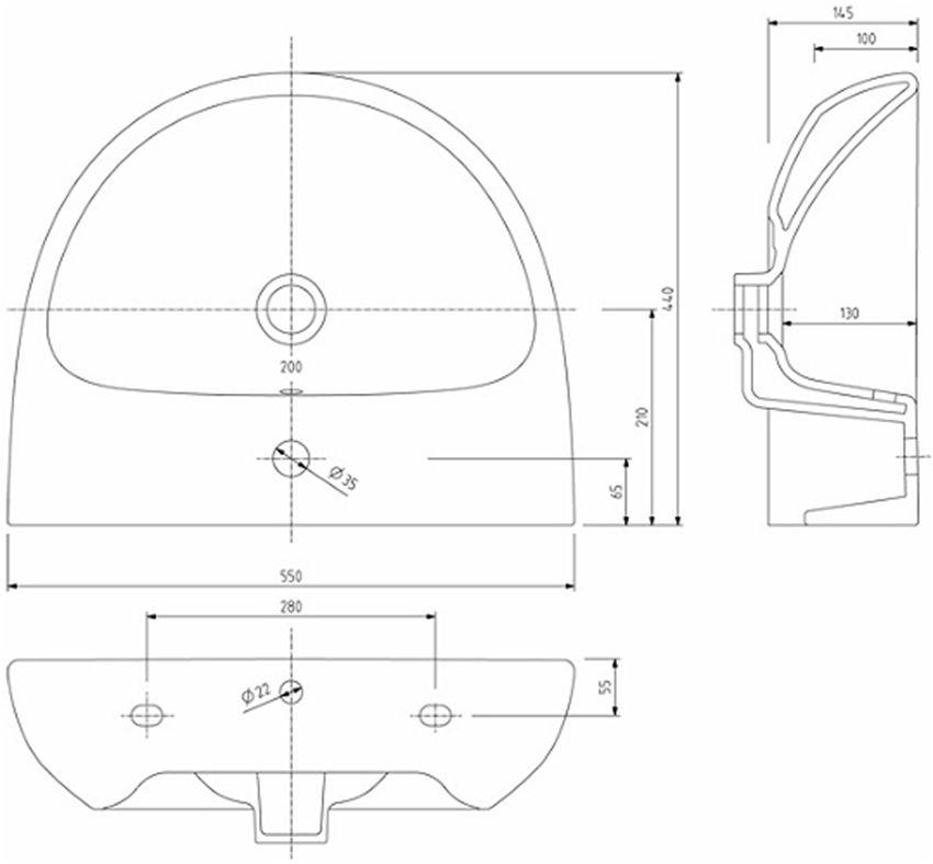 Umywalka półokrągła 55 cm Koło Nova Pro rysunek techniczny