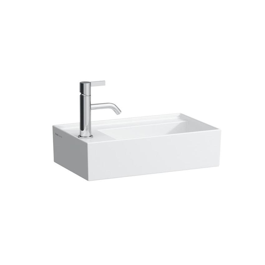 Mała umywalka ścienna/meblowa półka na baterię z lewej strony Laufen Kartell