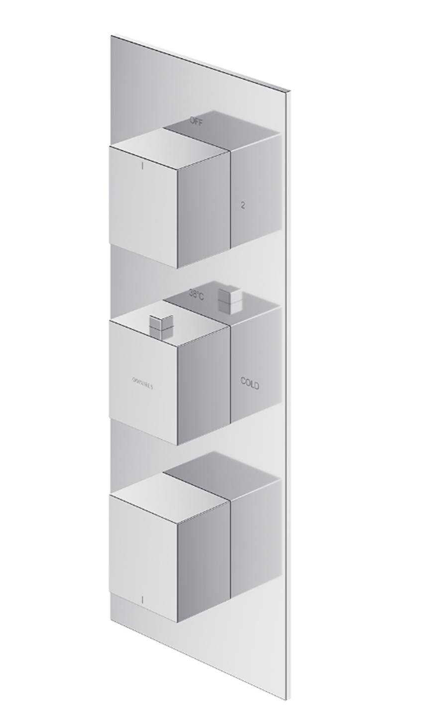 Termostatyczna bateria prysznicowo-wannowa podtynkowa 3-wyjściowa element natynkowy Omnires Fresh