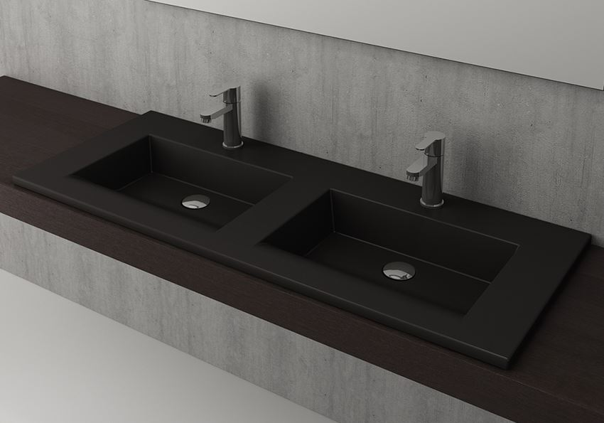 Umywalka podwójna meblowa/nablatowa 120 cm Matt Black Bocchi Milano