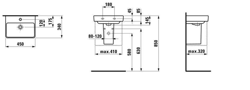 Mała umywalka 45 cm Laufen Pro S rysunek techniczny
