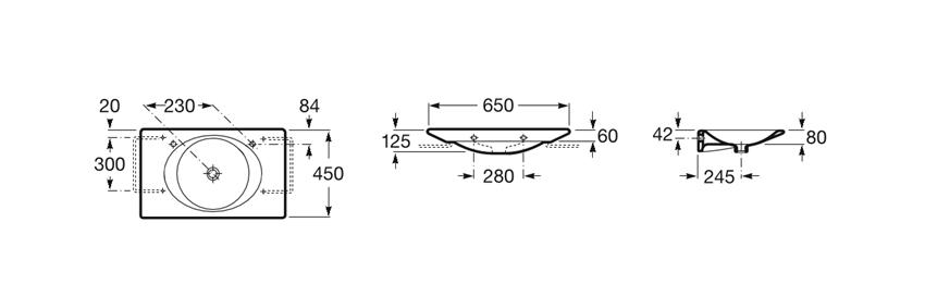Umywalka ścienna z blatem 65x45x12,5 cm Roca Kalahari rysunek techniczny