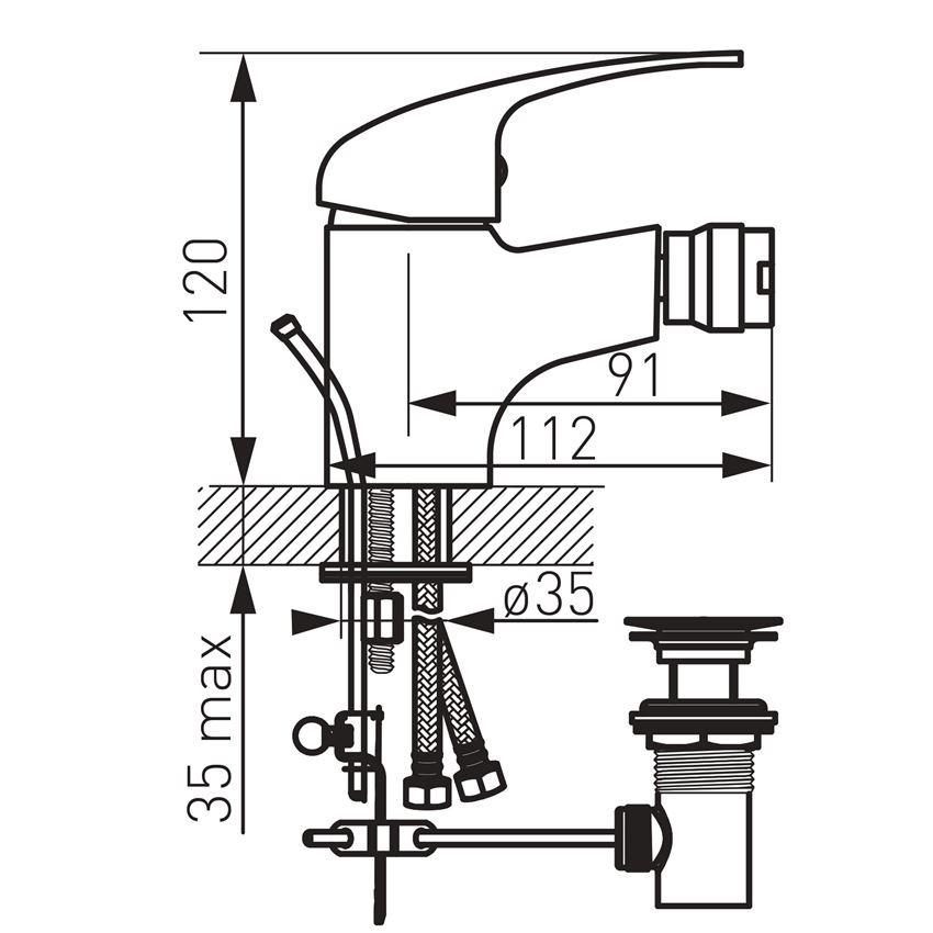 Bateria bidetowa stojąca Ferro Titania Iris rysunek techniczny