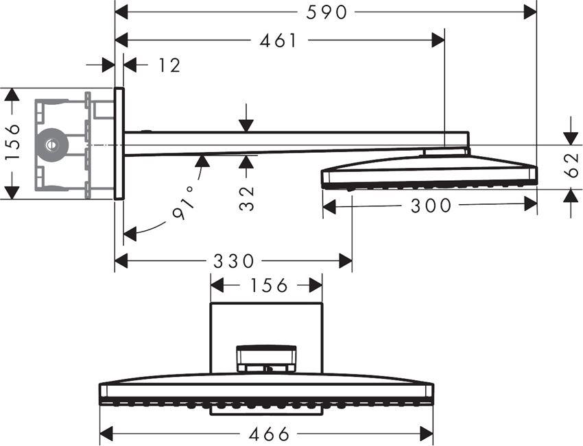 Głowica prysznicowa 460 Hansgrohe Rainmaker Select rysunek techniczny