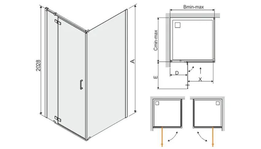 Kabina prysznicowa kwadratowa 90x200 cm Sanplast Free Line III rysunek