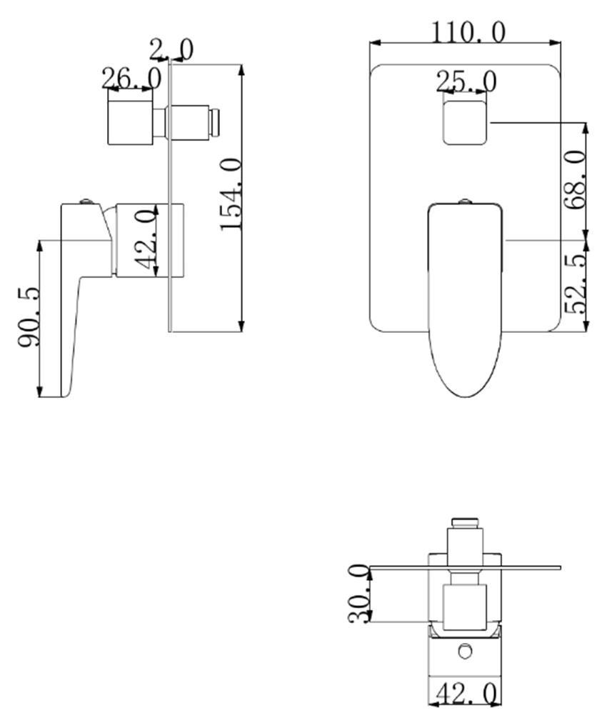 Bateria wannowa podtynkowa Omnires Siena rysunek techniczny