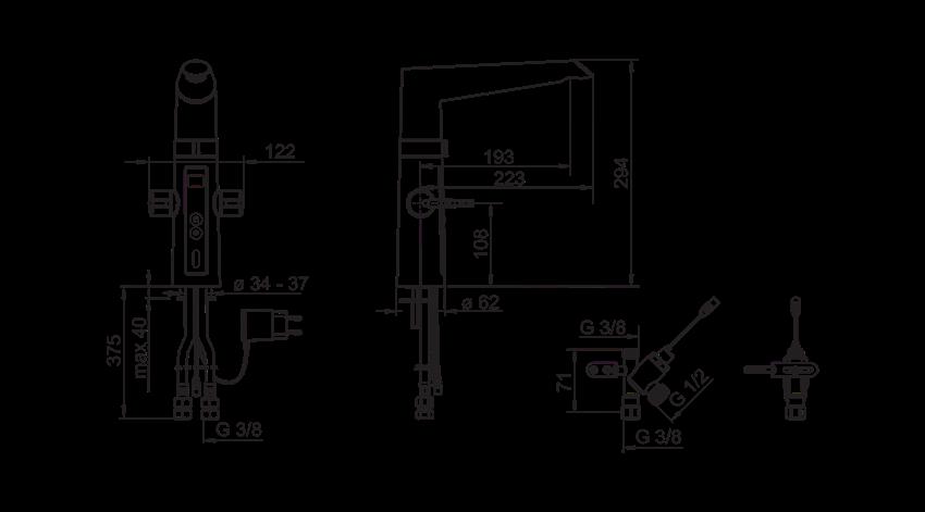 Bateria kuchenna z funkcją bezdotykową i zaworem do zmywarki Oras Optima rysunek techniczny