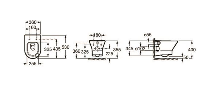 Miska WC podwieszana Rimless z deską wolnoopadającą SLIM 36x53,5 cm Roca Nexo rysunek techniczny
