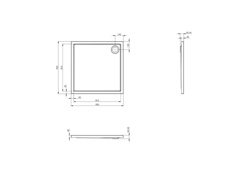 Brodzik kwadratowy 90x90x4 cm Roca Malaga rysunek techniczny