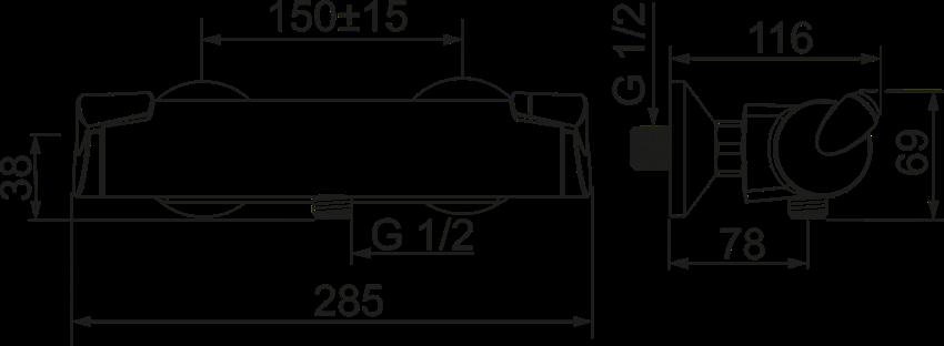 Termostatyczna bateria natryskowa Oras Optima rysunek techniczny