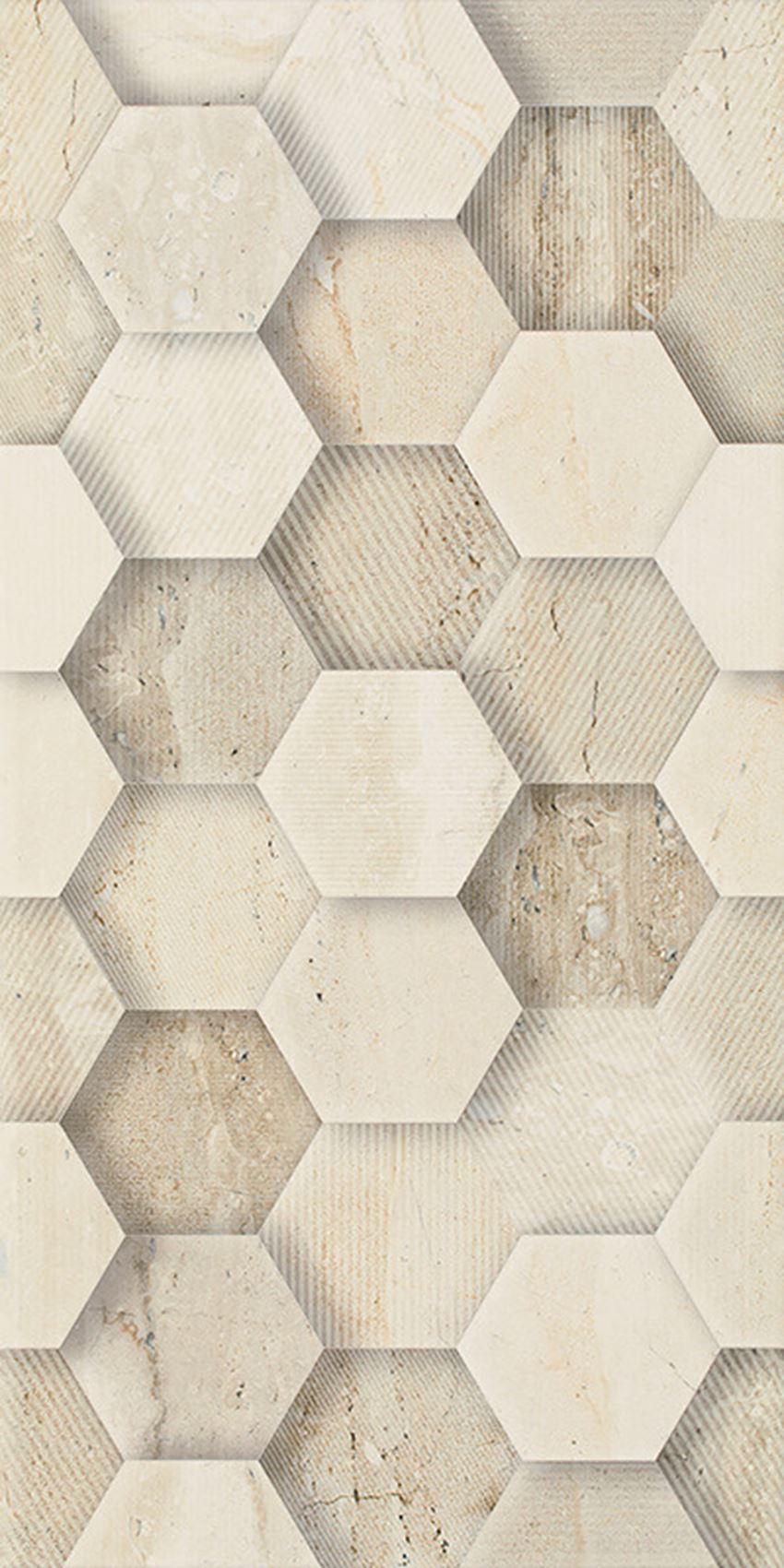 Dekoracja ścienna 30x60 cm Paradyż Sunlight Stone Beige Ściana Dekor Geometryk