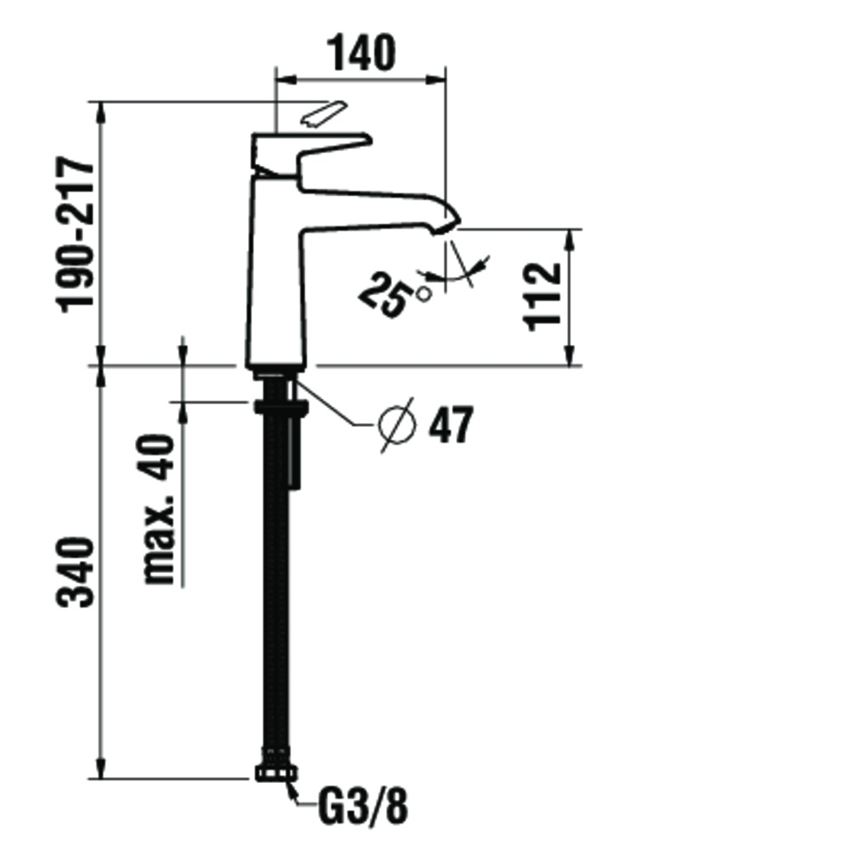Bateria umywalkowa jednouchwytowa bez korka automatycznego Laufen Val rysunek techniczny
