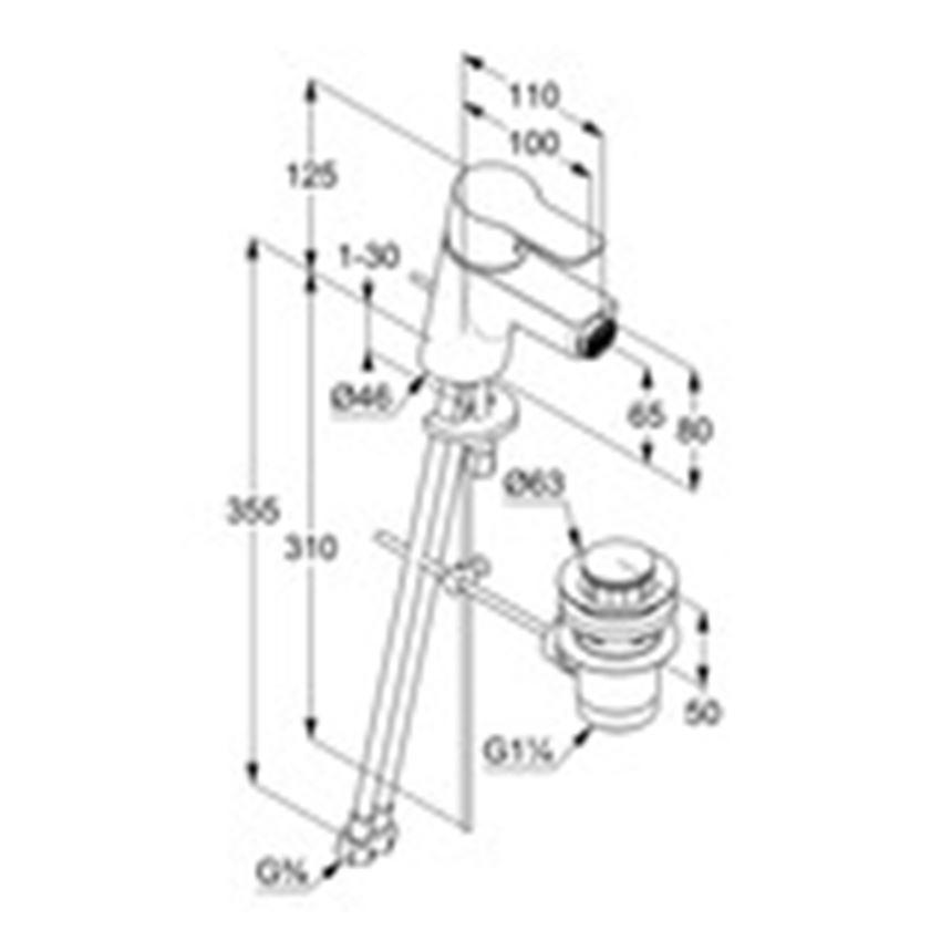Bateria bidetowa jednouchwytowa Kludi Pure&Easy rysunek techniczny