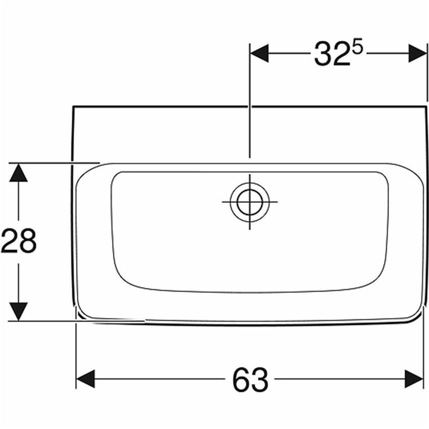 Umywalka prostokątna krótka bez otworu bez przelewu 65 cm Koło Nova Pro rysunek