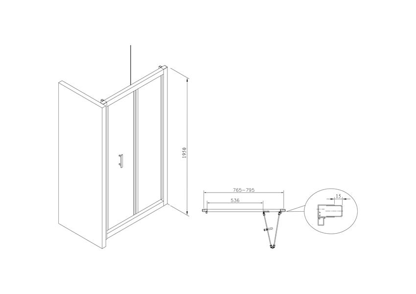 Drzwi składane 80x195 cm Roca Town rysunek techniczny