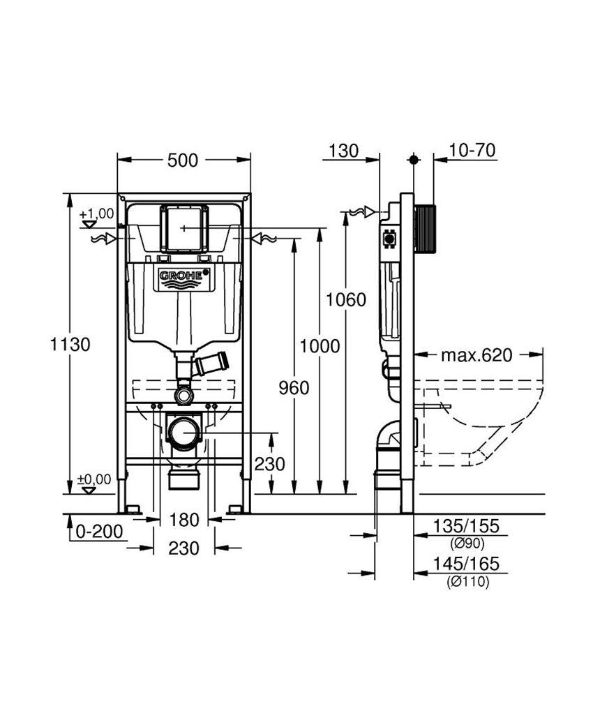 Stelaż do WC ściennego ze spłuczką i rurą Grohe Rapid SL rysunek techniczny