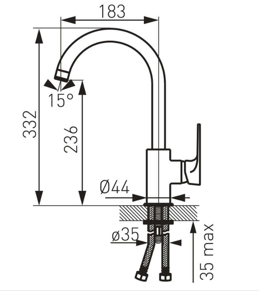 Jednouchwytowa bateria kuchenna FDesign Pinea rysunek