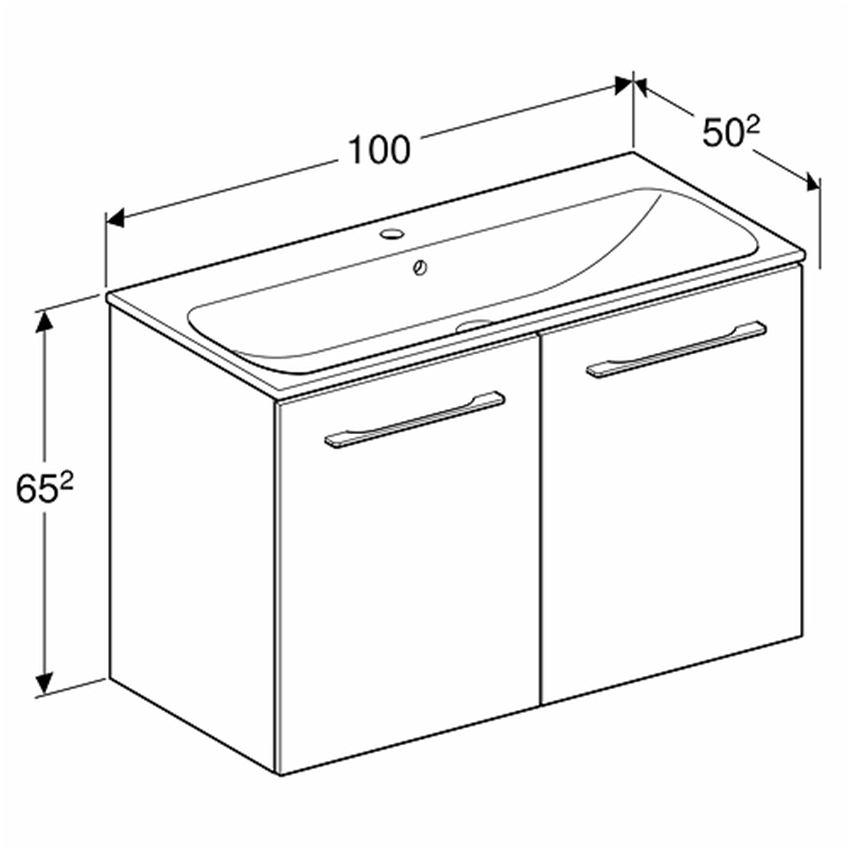 Szafka z umywalką 100 Koło Nova Pro Premium rysunek