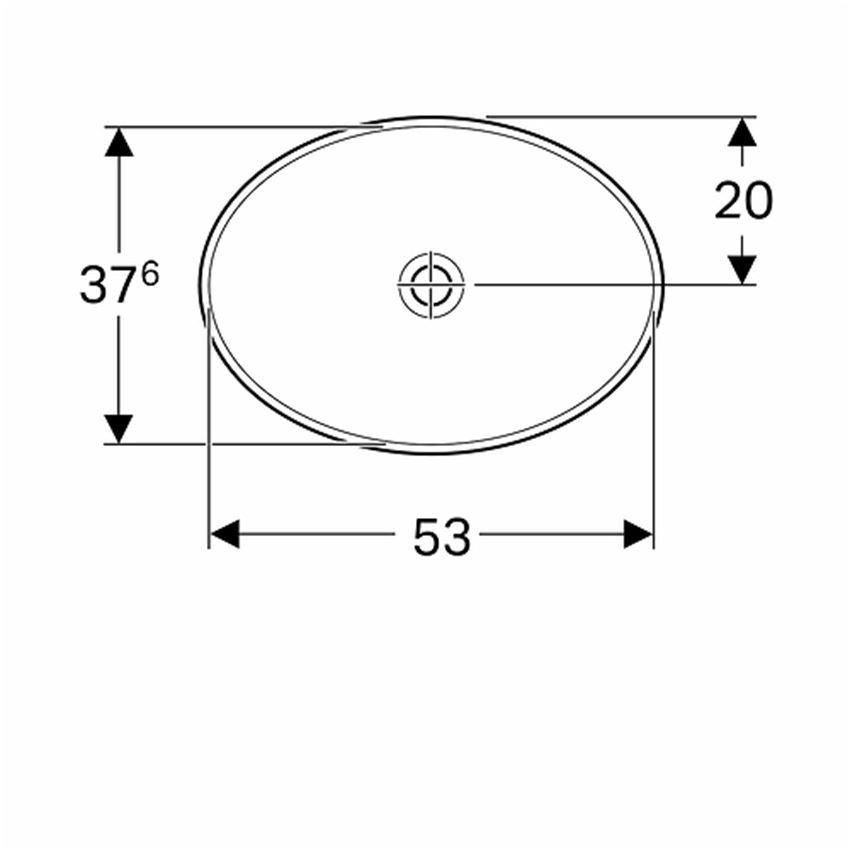 Umywalka owalna wpuszczana w blat 55x40 cm bez otworu bez przelewu Koło VariForm rysunek