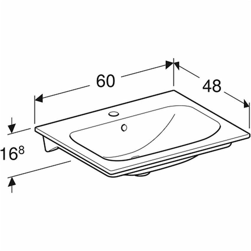 Umywalka meblowa 60 cm z niskim rantem z otworem i przelewem Koło Nova Pro Premium rysunek