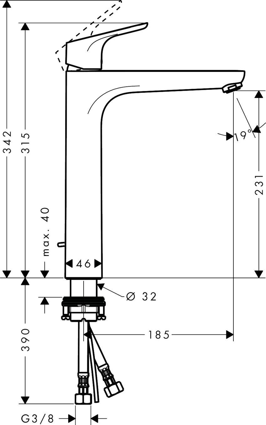 Bateria umywalkowa jednouchwytowa Hansgrohe Focus rysunek techniczny