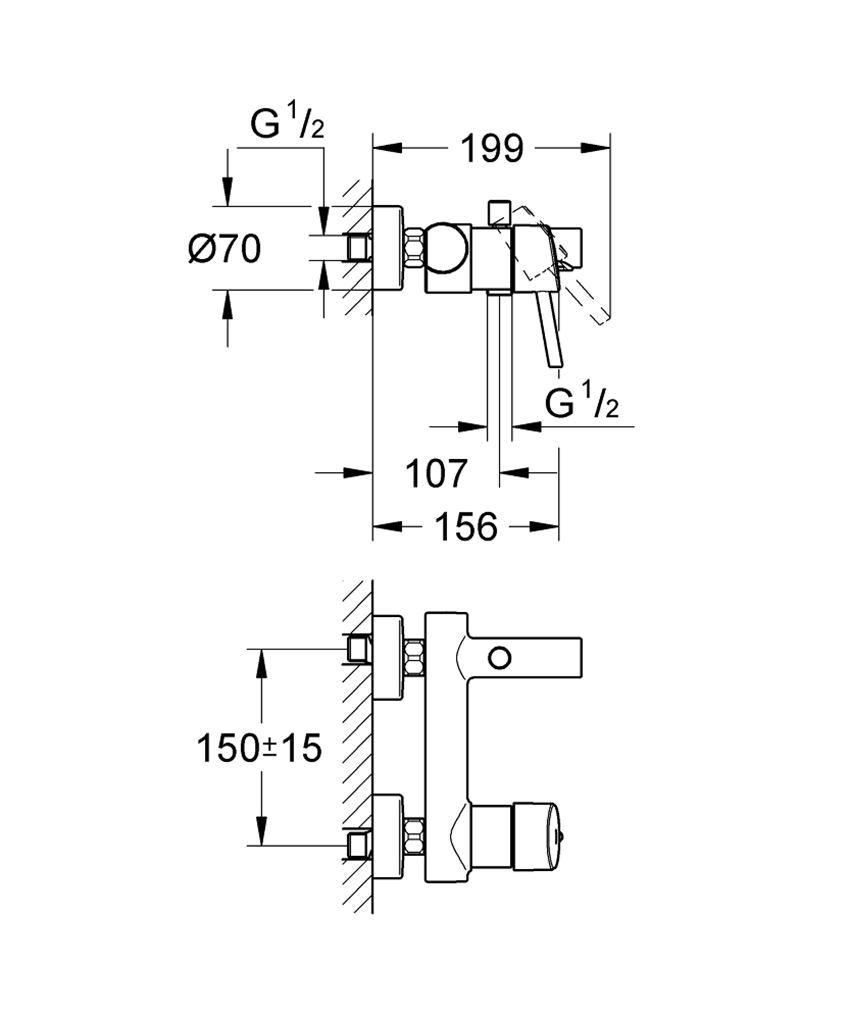 Bateria wannowa ścienna Grohe Concetto rysunek techniczny