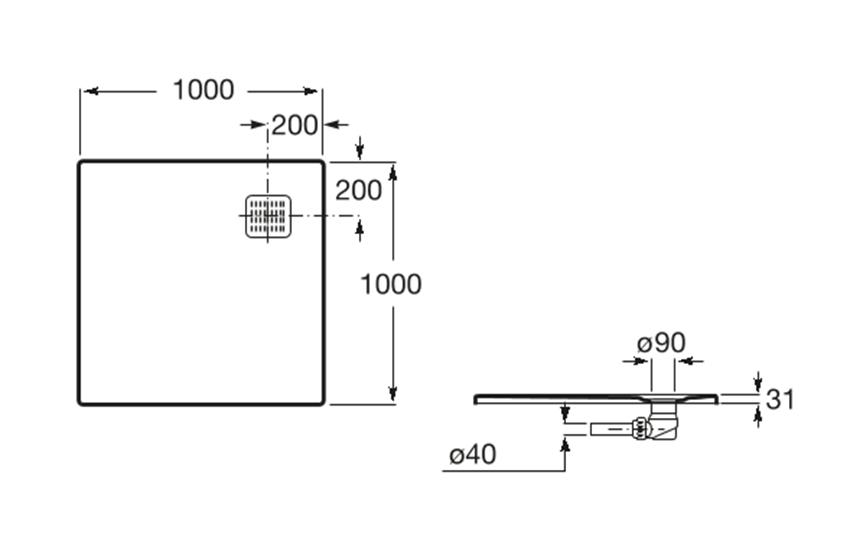 Brodzik kompozytowy STONEX® 100x100x2,8 cm Roca Terran rysunek