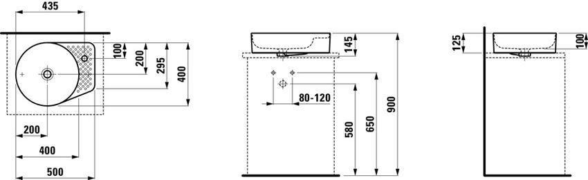 Umywalka nablatowa 50x40x12,5 cm Laufen Val rysunek techniczny