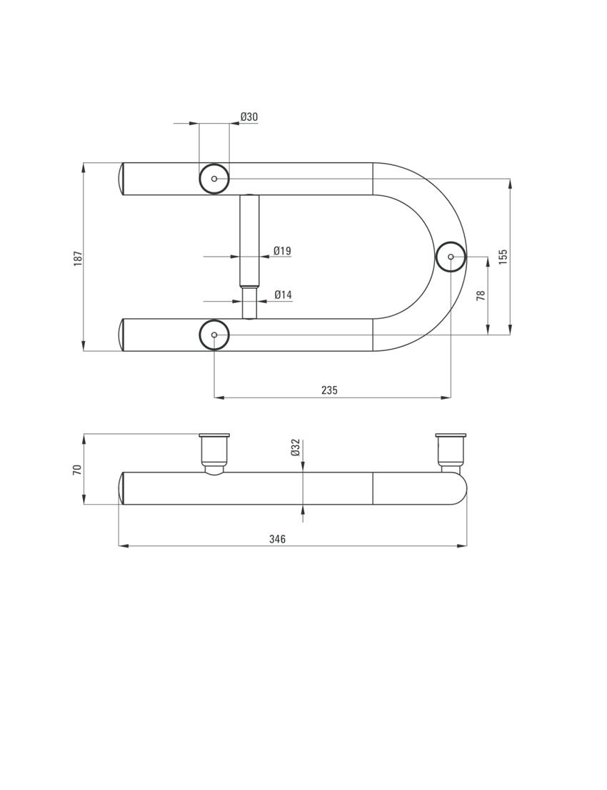 Uchwyt stalowy przyścienny z miejscem na papier Deante Vital rysunek techniczny